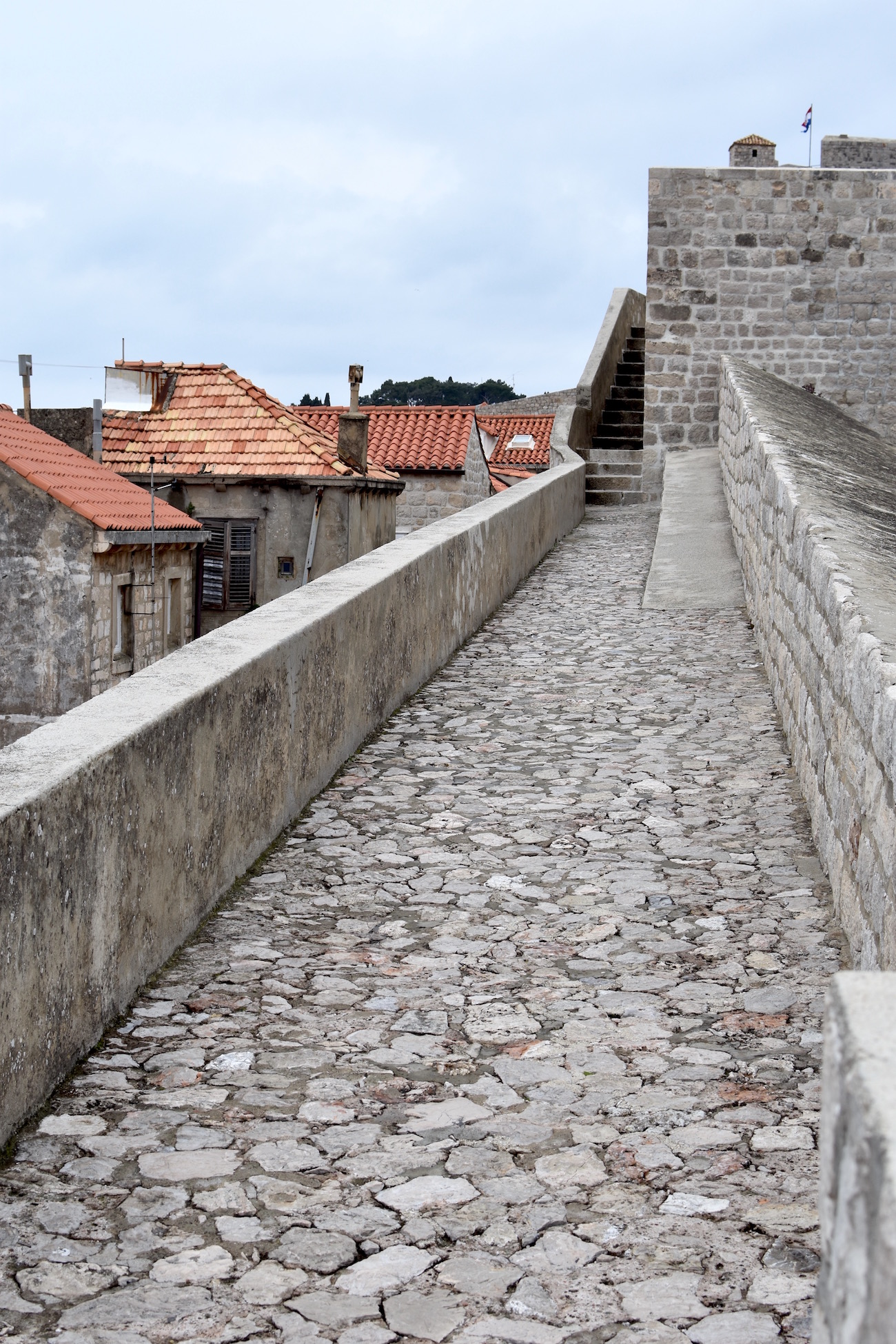 Winter walk along the wall in Dubrovnik, Croatia